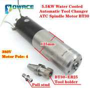 Atc Automatic Tool Changer 5.5kw Water Cooled Cnc Spindle Motor Bt30 380v 600hz