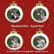 Woodland Sled Dog Cat Pet Photo Lovers Round Ball Christmas Tree Ornament Gift