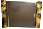 Vintage Maitland Smith Tessellated Horn And Leather Executive Desk Blotter