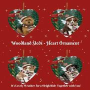 Woodland Sled Dog Cat Pet Lovers Heart Christmas Tree Ornament Gift Items