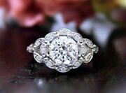 1.75ct Round Moissanite Victorian Floral Art Deco Engagement Ring 14k White Gold