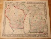 1863 Michigan And Wisconsin Mitchell's Map 15.4 X 12.6 Antique - Authentic