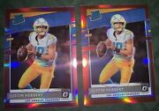 2020 Panini Donruss Optic Preview Justin Herbert Rc Red /99 And Pink Prizm Roy