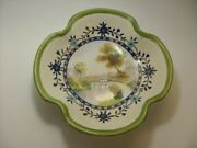 Nippon M Hand Painted Footed Bowl Four Lobed Vintage Collectable Bridge Scene