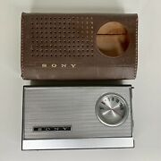 Sony Transistor Six Tr-6081 Rare Am Portable Radio With Case.  Tested