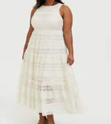 Torrid Sexy Beautiful Ivory Natural Lace Tiered Sleeveless Dress Size 18