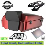 Hard Candy Hot Rod Red Flake Chopped Tour Pack Mount Rack For 97+ Harley Touring