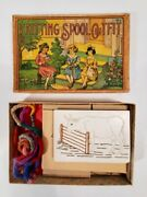 1920's Antique Knitting Spool Outfit Children's Game, Nearly Complete