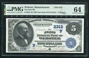 1882 5 Db The First Nb Of Webster Ma National Currency Ch. 2312 Pmg Unc-64