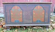 A Wonderful Small Size Tombstone Panel Decorated Pennsylvania Blanket Box