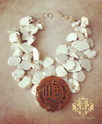 Xl Slab Statement Necklaces White Howlite Turquoise Brown Carved Jade Pendant