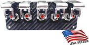 5 Hole Real Carbon Fiber Panel W/ 5 Red Led Toggle Switches And Chrome Covers