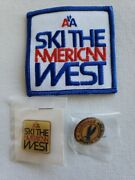 American Airlines Ski The American West Sports Pins And Patche Lot Qty 3 New