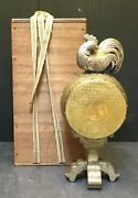 Magnificent Japanese Meiji Silver And Gold Okimono - Rooster On Drum