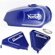 Norton Commando Roadster 750 Fuel Gas Petrol Tank Blue Paint With Panel And Ecs