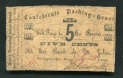 1862 5 Five Cents Confederate Packing House Jacksonville Fl Obsolete Scrip Note
