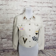 Handmade Womens M Vegas Golden Knights Patched Painted Hockey Nhl Jacket Vgk