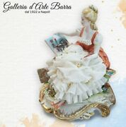 Porcelain Capodimonte, The Painter, Lady With Dress Of Lace In Porcelain