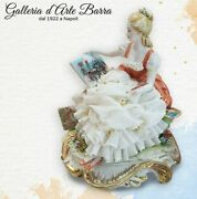 Porcelain Capodimonte The Painter Lady With Dress Of Lace In Porcelain