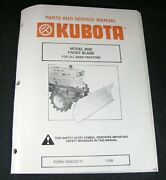 Kubota 2020 Front Blade For B8200 Tractor Parts And Service Manual Book Catalog