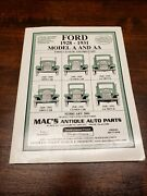 Ford Model A And Aa Parts Catalog Mac's Antique Auto Parts February 2001