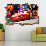 Lightning Mcqueen Cars Movie 3d Smashed Hole Wall Sticker Decal Diy Disney H164