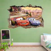 Lightning Mcqueen Cars Movie 3d Smashed Hole Wall Sticker Decal Diy Disney J215