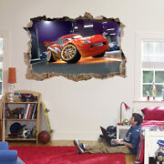 Lightning Mcqueen Cars Movie 3d Smashed Hole Wall Sticker Decal Diy Disney J279