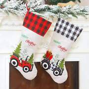 Large Hessian Burlap Christmas Stocking - Xmas Trees And Tractors Gift Bag For Kid