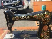Antique Singer Sewing Machine In Oak Cabinet Treadle Operated