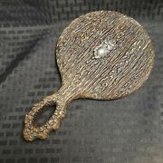 Antique Victorian Sterling And Wood Mirror Beveled Glass Hand Mirror