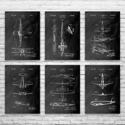 Airplane Patent Posters Set Of 6 Flight Instructor Pilot Gift Airplane Blueprint