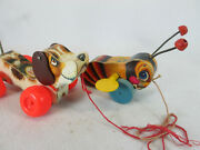 Vintage 1960and039s Fisher Price Buzzy Bee 325 And Little Snoopy 693 Pull Toy