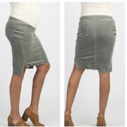 Maternity Skirt Pink Blush Ribbed Suede Pencil Skirt Size Large Gray