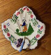 1940and039s Blue Ridge Handpainted Southern Pottery French Peasant Nappy Plate Handle