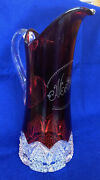 S21 Antique Victorian Ruby Flash Glass Eapg Tall Pitcher Mother Atlantic City