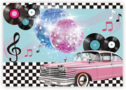 Funnytree 7x5ft 50s Retro Rock N Roll Diner Party Backdrop Car Sock Hop Dance Co