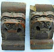 Lion Head Antique French Carved Wood Wall Shelf Rack Console Corbels Brackets