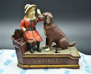 Nice Authentic Speaking Dog Mechanical Bank Circa 1885 Early Shepard Hardware