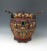A Chinese Antique Wood Basket Box Container Interlock Puzzle Lock Lid Red Paint