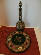 Rare Vtg. Czechoslovakia Wooden Hand Painted Wine Bottle With Tray
