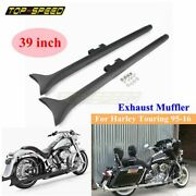 39 In Fishtail Slip On Mufflers Exhaust Pipes For Harley Touring Road King 95-16