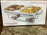 Casserole Dish 2x Qt Covered W/warming Rack Holiday By Living Quarters W/candles