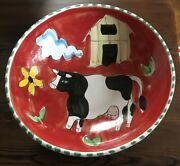 The Cellar For Macy's Farmhouse Bowl Pottery Italy Hand Painted Cow, Barn