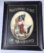 Antique Framed Advertising Lithograph National Fire Of Hartford