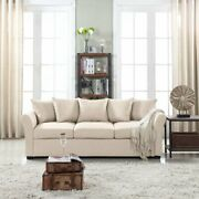 Beige Couch For Living Room Modern Light Beige Sofa With Removable Cushions