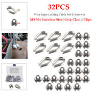 32pcs M3 Stainless Steel Grip Clamp/clips Wire Rope Lashing Cable M6 U Bolt Nut