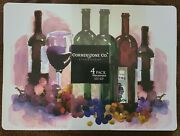 Placemat- Wine Grape -painted Kitchen Table Protector - Foam 18x13 Set Of 4