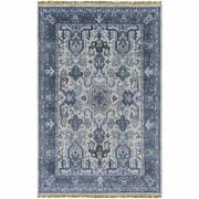 Wool Area Rug Hand-knotted Handmade In India Blue Gray Ivory Tones 5and0396 X 8and0396