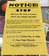 Notice Stop Dont Buy Negro Records Vintage Poster